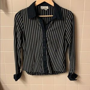 Gently worn black and white striped blouse